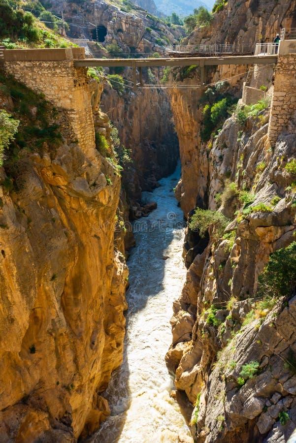 Atração turística Malaga de EL Caminito del Rey, Espanha fotografia de stock royalty free