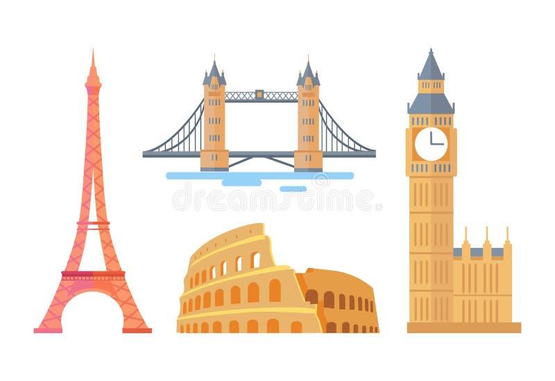 Atrações arquitetónicas do mundo espetacular famoso ilustração stock