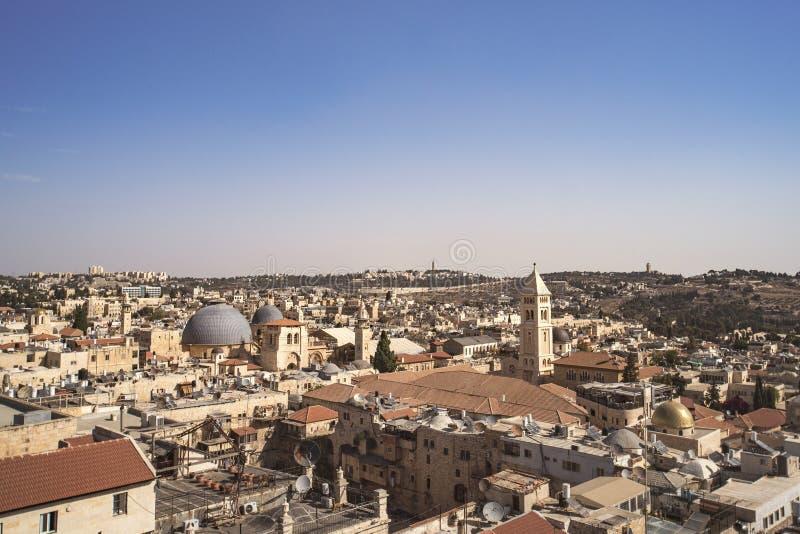 Atrações da paisagem de Israel Opinião do Jerusalém da cidade velha e da cidade nova Vista da parte superior da torre de David an imagem de stock