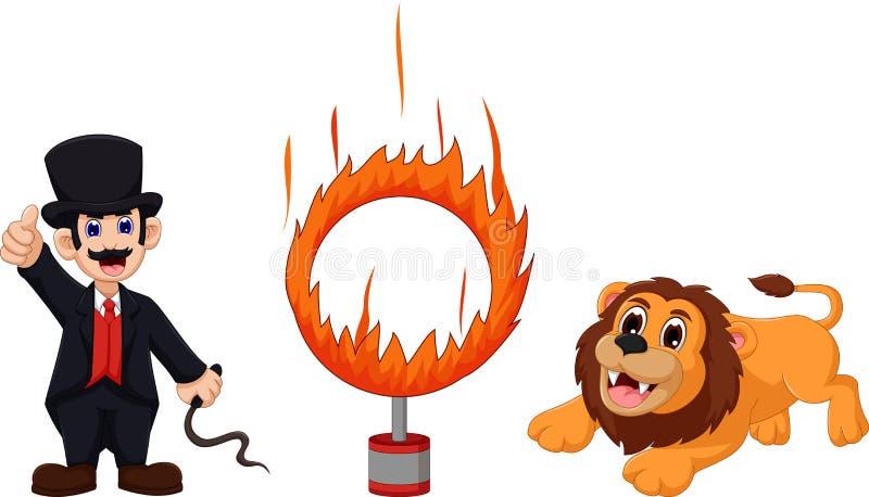 Atrações de desenhos animados do leão que saltam em um anel de fogo ilustração royalty free