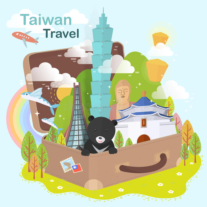 Atrações de Taiwan ilustração royalty free