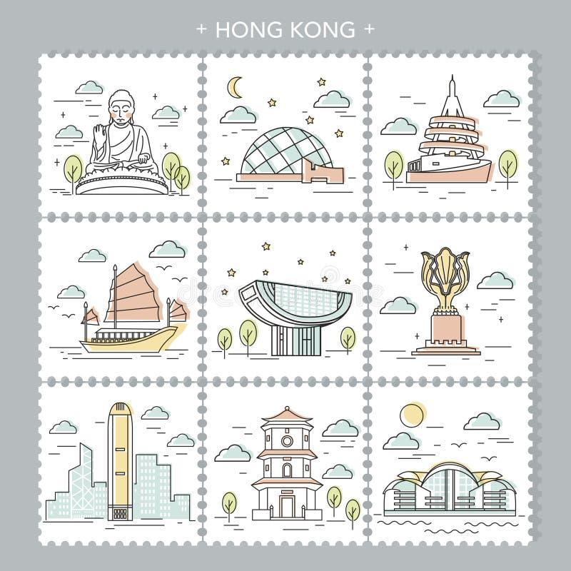 Atrações do curso de Hong Kong ilustração royalty free