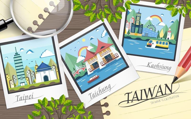 Atrações do curso de Taiwan ilustração do vetor