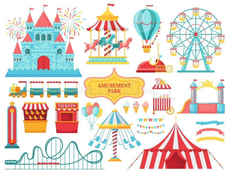 Atrações do parque de diversões O carrossel das crianças do carnaval, ferris roda a atração e o vetor de divertimento dos entrete ilustração stock