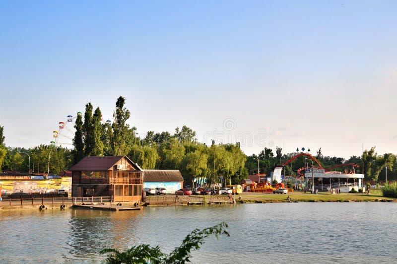 Atrações do parque e entretenimento Sunny Island em Krasnodar fotografia de stock royalty free