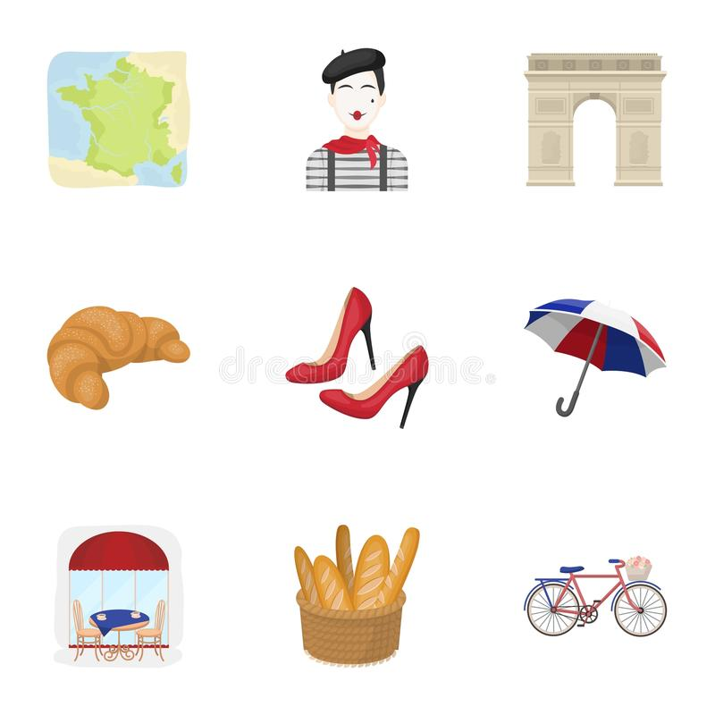Atrações em França Coisas a aprender sobre França Ícone do país de França na coleção do grupo no vetor do estilo dos desenhos ani ilustração royalty free