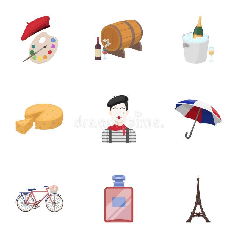 Atrações em França Coisas a aprender sobre França Ícone do país de França na coleção do grupo no vetor do estilo dos desenhos ani ilustração stock