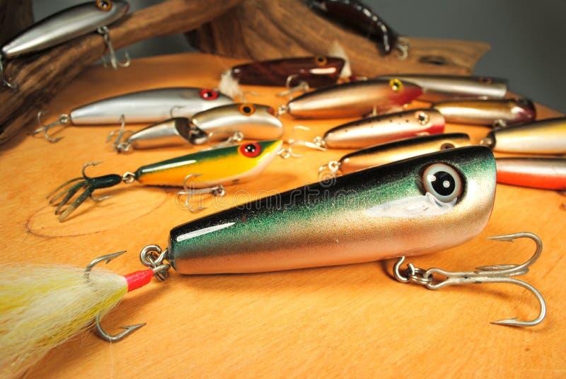 Atrações Handcrafted da pesca imagens de stock
