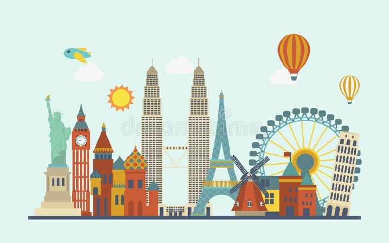 Atrações mundialmente famosas ilustração royalty free