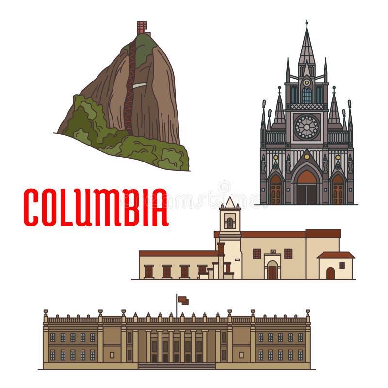 Atrações turísticas da arquitetura de Colômbia ilustração stock