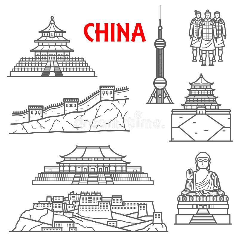 Atrações turísticas do ícone de China, linha estilo fina ilustração royalty free