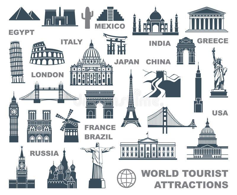 Atrações turísticas do mundo dos ícones ilustração stock