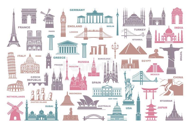 Atrações turísticas do mundo dos ícones e marcos arquitetónicos ilustração do vetor