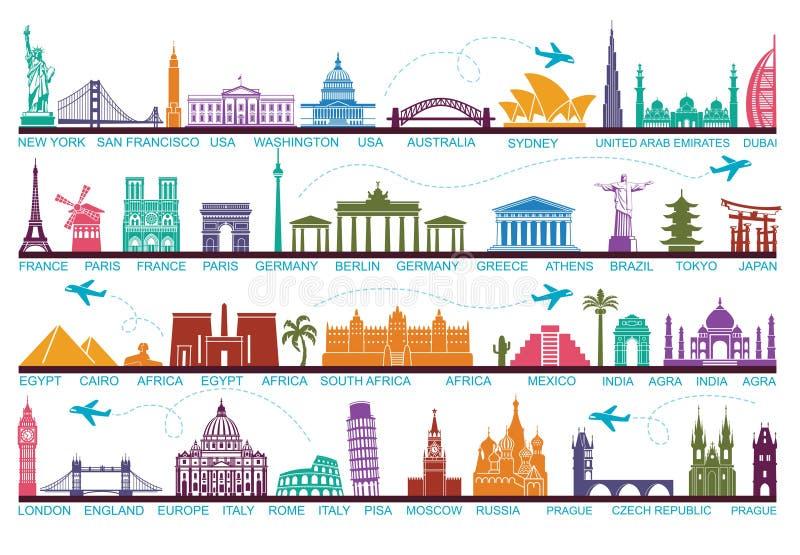 Atrações turísticas do mundo dos ícones Os símbolos viajam em todo o mundo Marco e atrações ilustração royalty free
