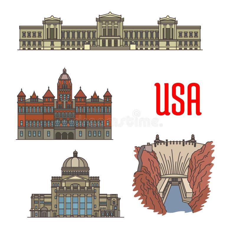 Atrações turísticas populares famosas dos EUA ilustração stock