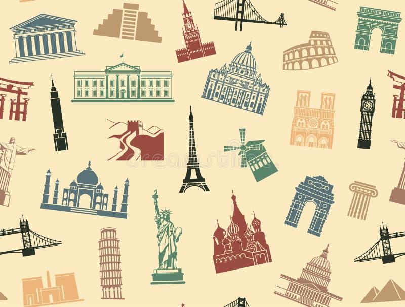 Atrações turísticas sem emenda do fundo ilustração do vetor