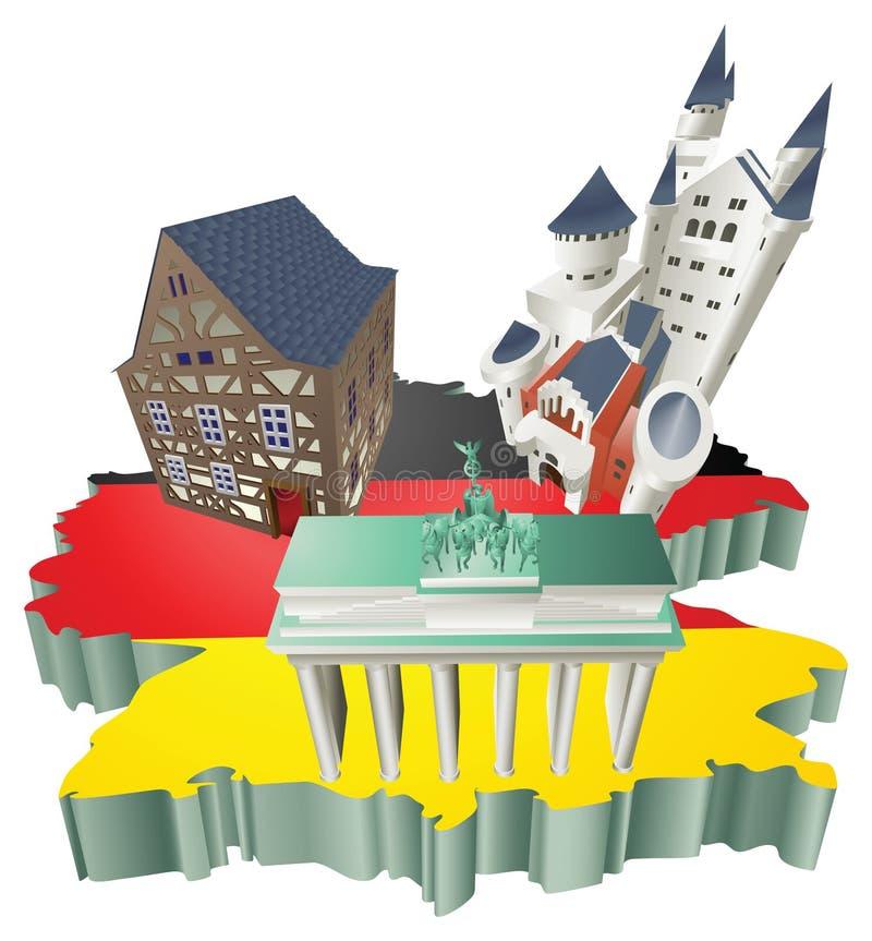 Atracções turísticas alemãs da ilustração em Alemanha ilustração stock