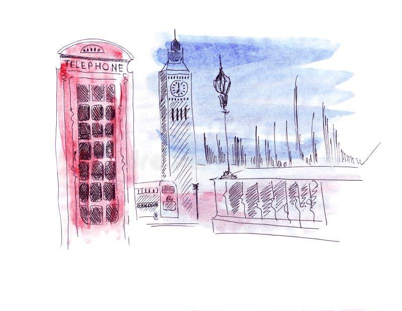 Atracción del bosquejo del ejemplo de la capital de Inglaterra Londres: Autobús de dos plantas, torre de reloj de la torre de la  ilustración del vector