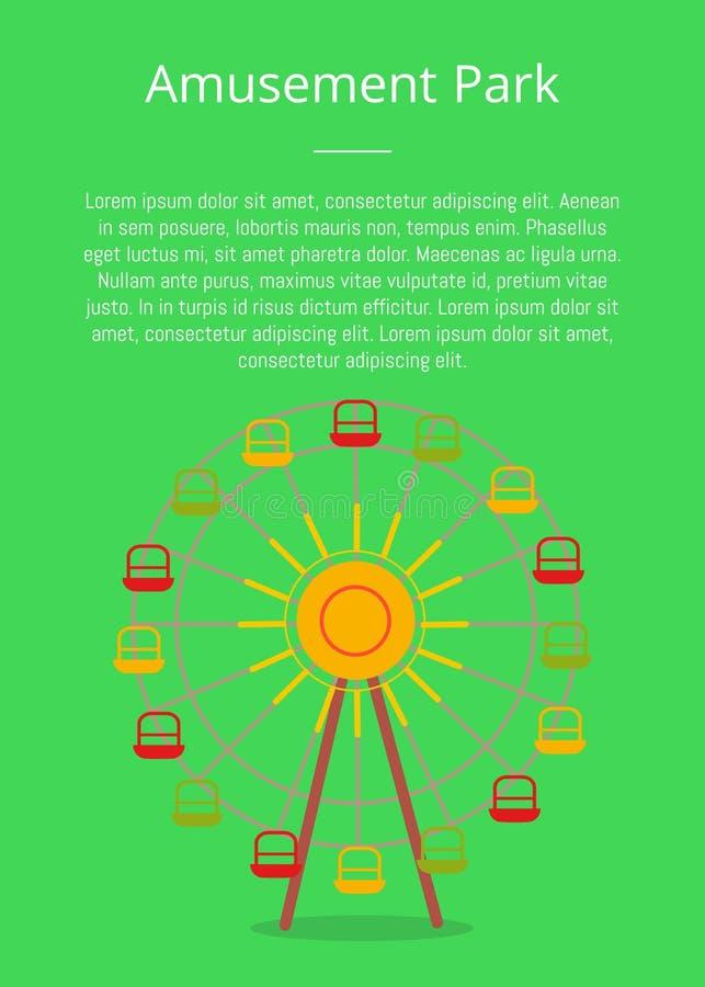 Atracción del cartel del parque de atracciones, Ferris Wheel stock de ilustración