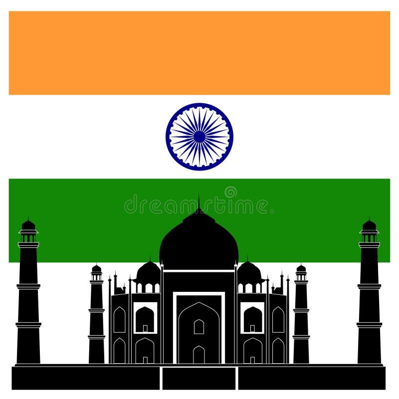 Atracción India El Taj Mahal Y Bandera Ilustración del Vector ...