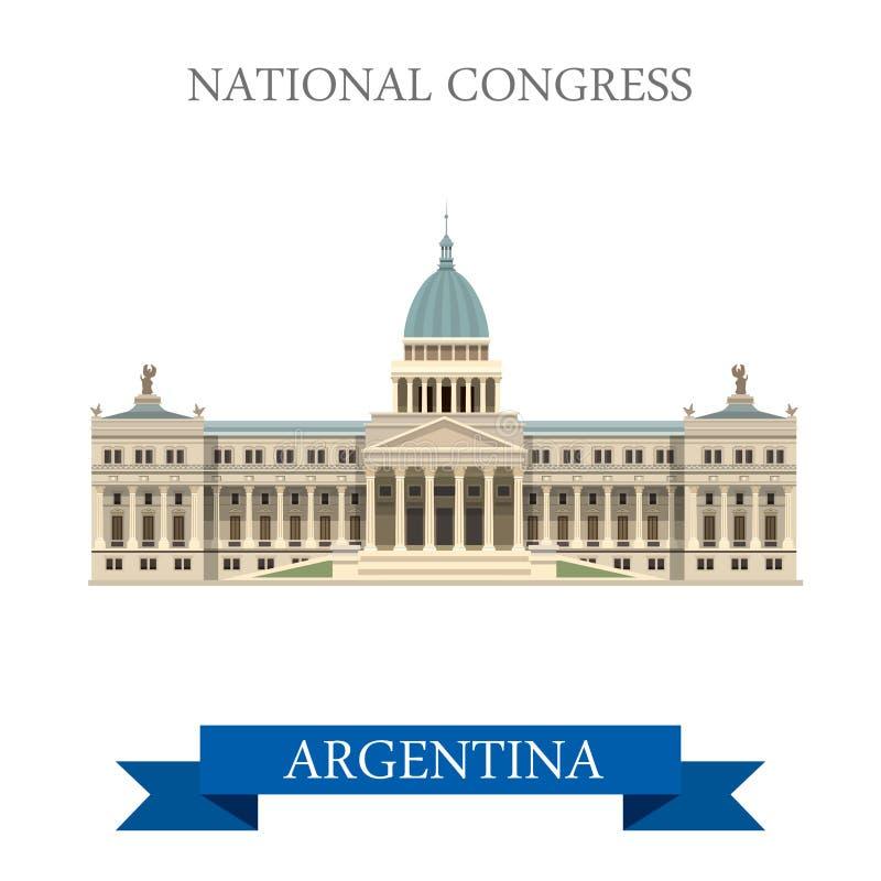Atracción plana del vector de Buenos Aires la Argentina del congreso nacional ilustración del vector