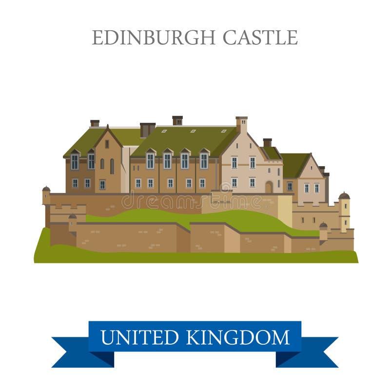 Atracción plana del vector de Escocia Reino Unido del castillo de Edimburgo stock de ilustración