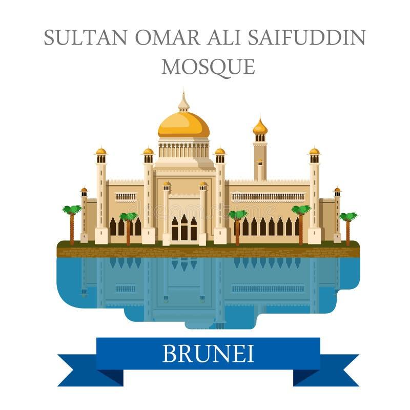Atracción plana del vector de Sultan Omar Ali Saifuddin Mosque Brunei stock de ilustración