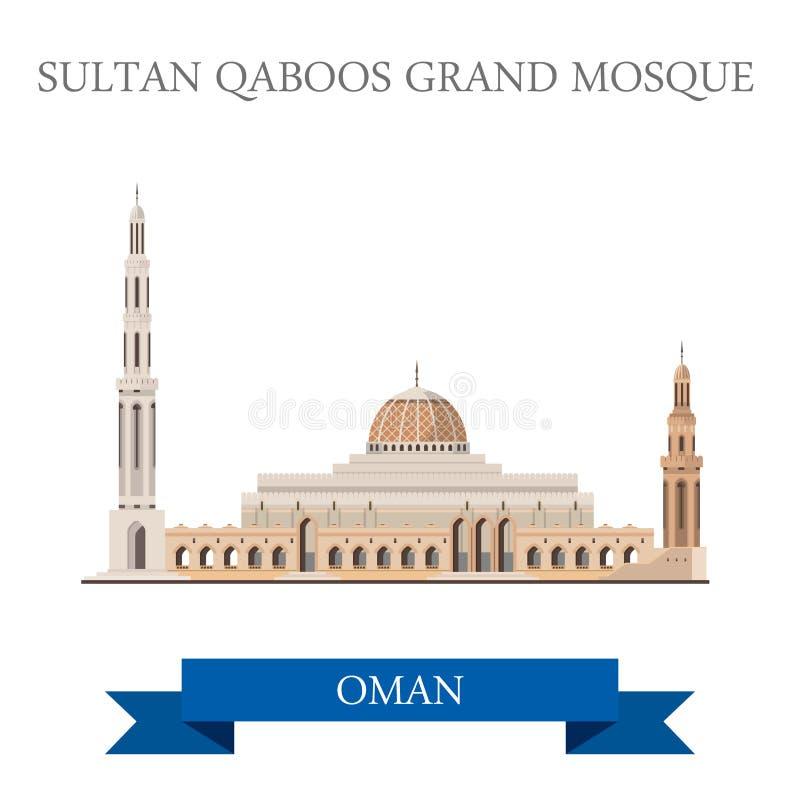 Atracción plana del vector de Sultan Qaboos Grand Mosque Muscat Omán stock de ilustración