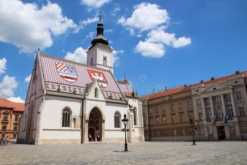 Atracción turística de Zagreb/la iglesia de St Mark fotografía de archivo libre de regalías