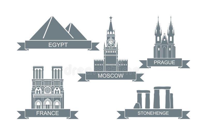 Atracciones arquitect?nicas del mundo Iconos planos estilizados Señales de Moscú, Praga, Egipto, París, Inglaterra ilustración del vector