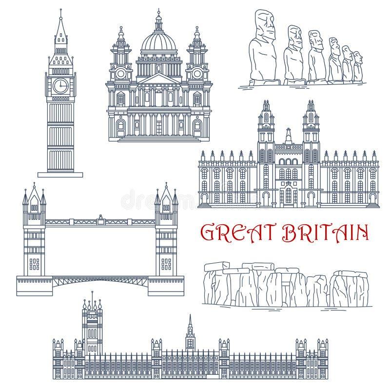 Atracciones del icono linear de Gran Bretaña y de Chile ilustración del vector