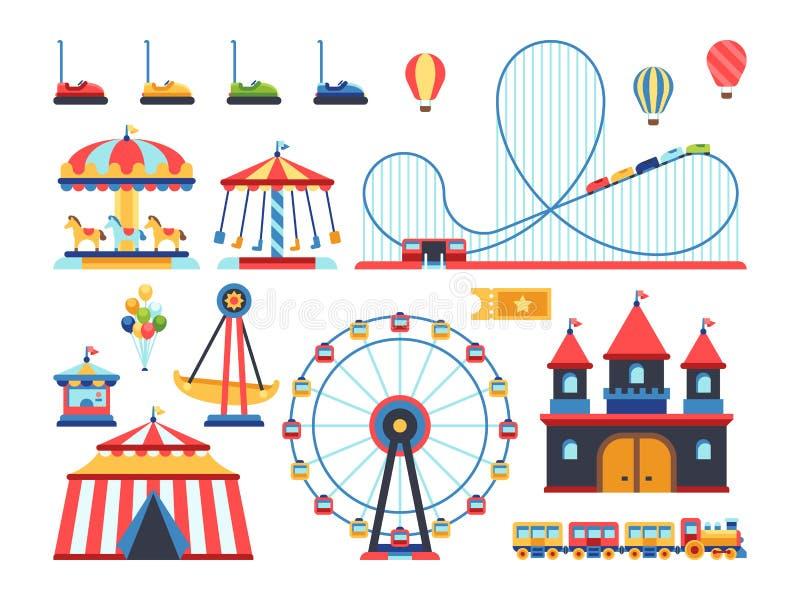 Atracciones del parque de atracciones Iconos planos del vector del tren, de la noria, del carrusel y de la montaña rusa stock de ilustración