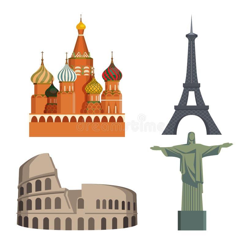 Atracciones el Kremlin, torre Eiffel, coliseo italiano, estatua de los mundos de Cristo libre illustration