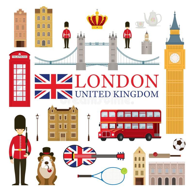 Atracciones turísticas de Londres, de Inglaterra y de Reino Unido stock de ilustración