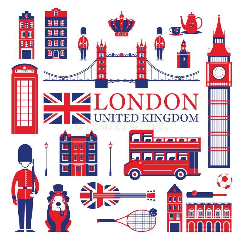 Atracciones turísticas de Londres, de Inglaterra y de Reino Unido libre illustration