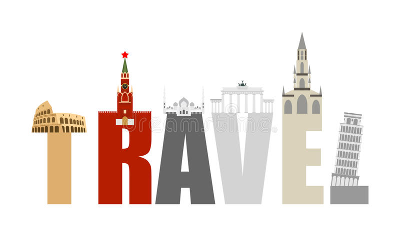 Atracciones y letras del viaje Estructura de diversos estados y ilustración del vector