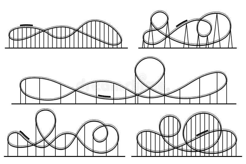 Σκιαγραφία ρόλερ κόστερ Atractions λούνα παρκ, switchback έλξη και rollercoaster διανυσματικές σκιαγραφίες καθορισμένα διανυσματική απεικόνιση