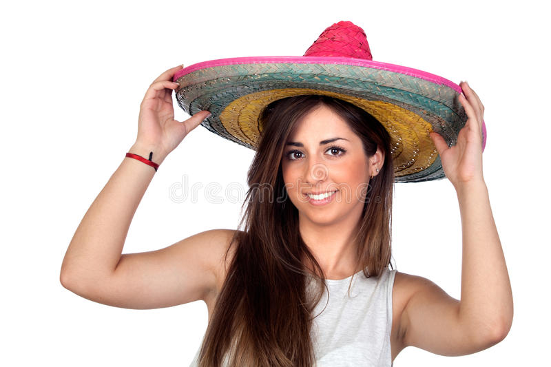 Atractive girl with a mexican hat. Isolated on white background royalty free stock photos