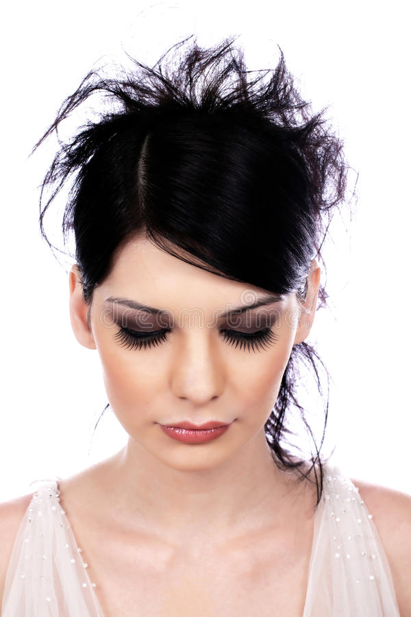 Atractive young woman with false eyelashes royalty free stock images