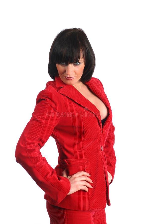 Atrakcyjna biznesowa kobieta w czerwieni sukni zdjęcie royalty free