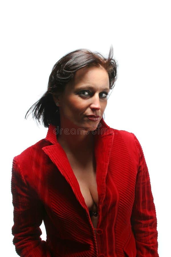 Atrakcyjna biznesowa kobieta w czerwieni sukni obraz stock