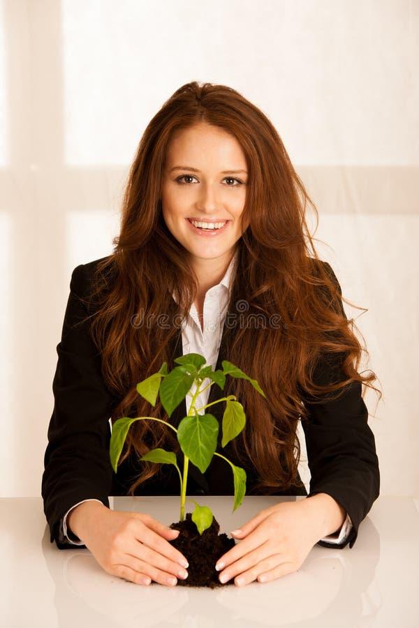 Atrakcyjna biznesowa kobieta z rozsadą, przyrostem i dobrobytem, c zdjęcia royalty free