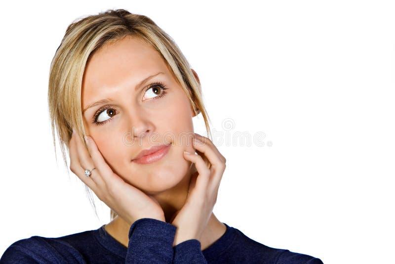 atrakcyjna blondynki twarzy dziewczyna wręcza ona fotografia stock