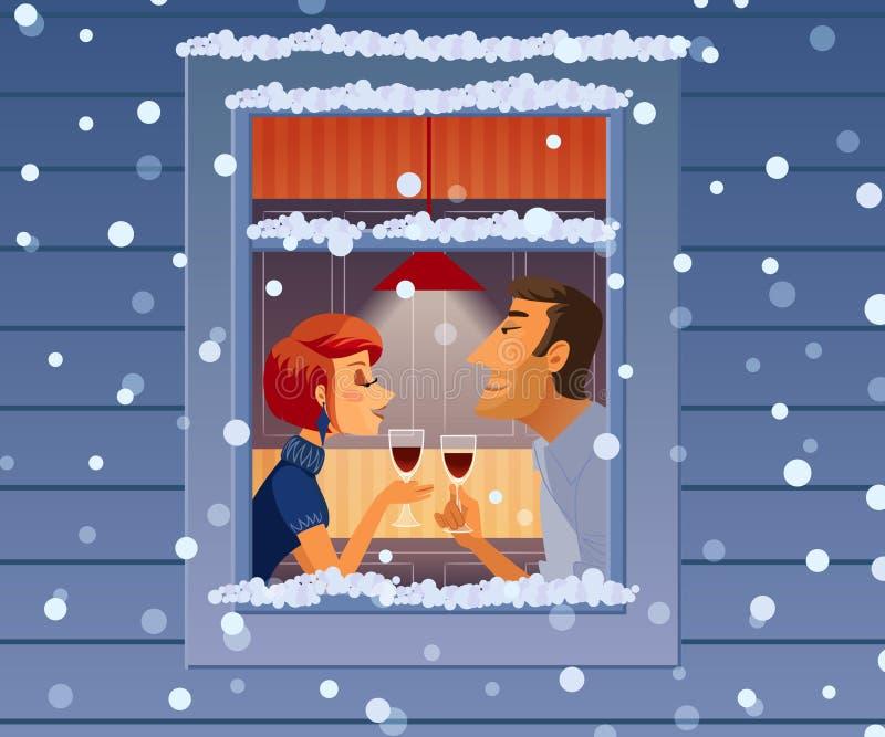 Atrakcyjna elegancka para pije wino Piękny mężczyzna i kobieta opowiada blisko zimy okno royalty ilustracja