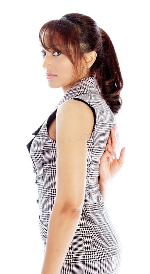 Download Atrakcyjna Indiańska Kobieta Odizolowywająca Na Białym Tle Zdjęcie Stock - Obraz złożonej z dorosły, powaga: 41952600