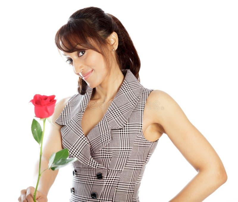 Download Atrakcyjna Indiańska Kobieta Odizolowywająca Na Białym Tle Zdjęcie Stock - Obraz złożonej z positivity, elegancja: 41953074