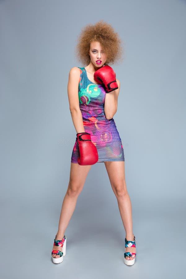 Atrakcyjna kędzierzawa młoda kobieta jest ubranym czerwone bokserskie rękawiczki zdjęcie royalty free