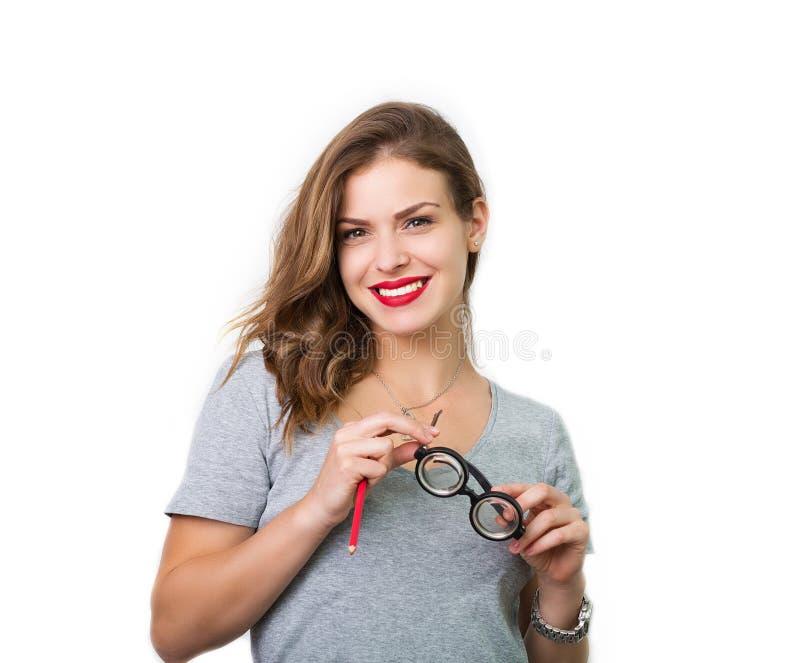 Download Atrakcyjna Kobieta Z Czytelniczymi Szkłami Obraz Stock - Obraz złożonej z nowożytny, seymour: 57671229