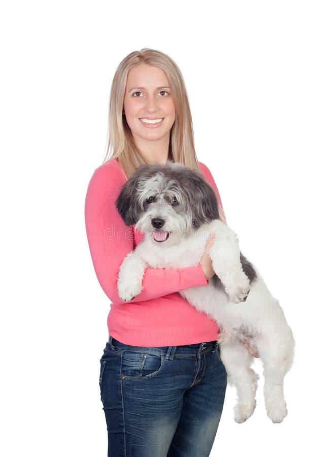 Atrakcyjna kobieta z jej psem zdjęcie stock