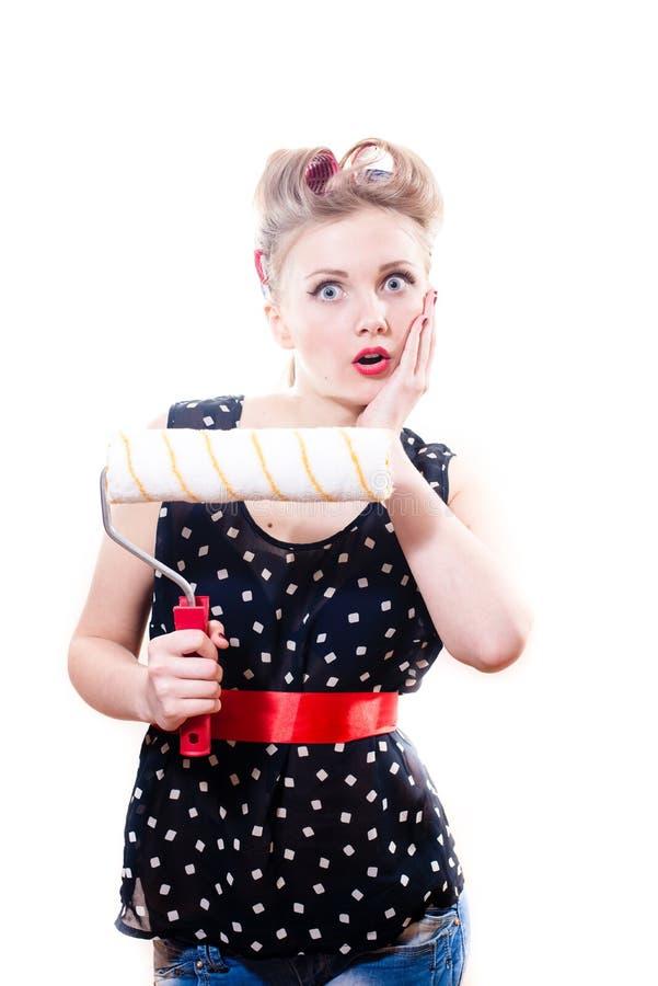 Atrakcyjna młoda blond pinup kobieta obrazy stock